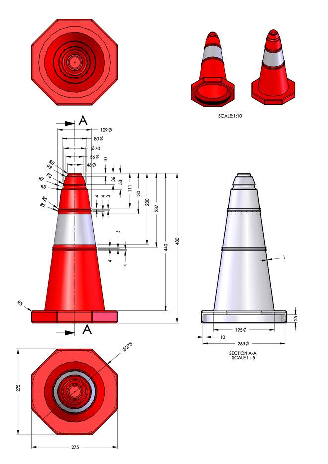 Λεπτομέριες και διαστάσεις κώνου KDH-PE-7