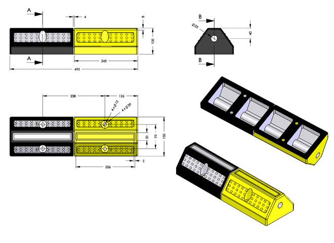 Διαστάσεις στοπ τροχού KDH-223