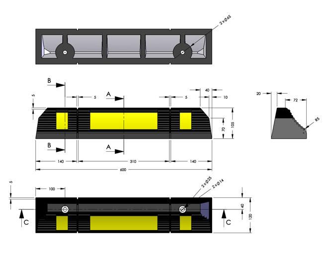 Διαστάσεις στοπ τροχού KDH-225