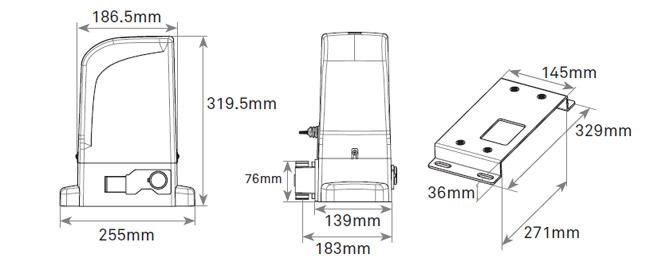 Διαστάσεις μηχανισμού Motorline Bravo500 για συρόμενες γκαραζόπορτες
