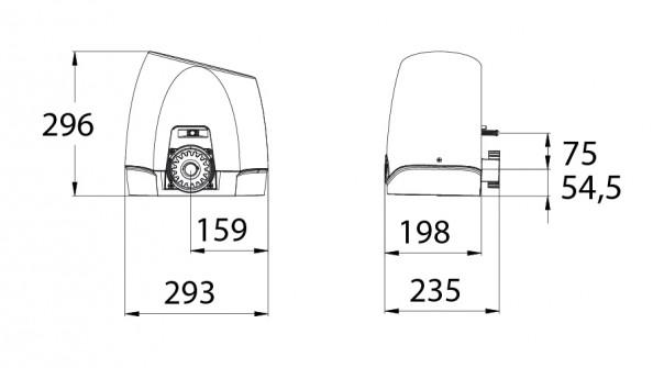 Διαστάσεις μηχανισμού συρόμενης γκαραζόπορτας STAGNOLI HERCULES