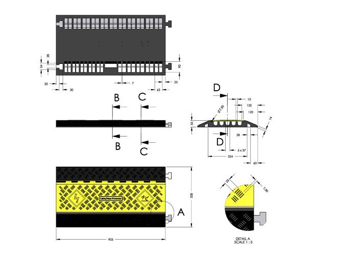 Λεπτομέριες και διαστάσεις καναλιού αγωγών KDH-CP-5