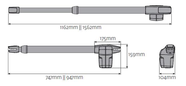Διαστάσεις μηχανισμών Lince 400/600