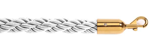 Λευκό σχοινί με χρυσαφί γάντζο για κολονάκια οριοθέτησης