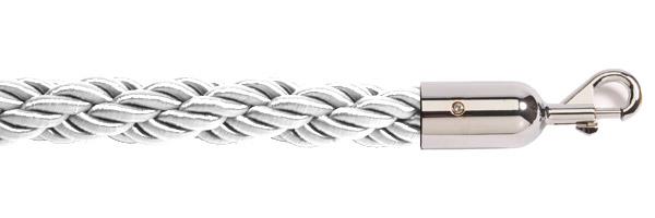 Λευκό σχοινί με ασημί γάντζο για κολονάκια οριοθέτησης