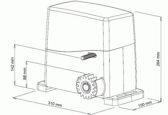 Διαστάσεις μηχανισμού SL1600 για συρόμενες πόρτες