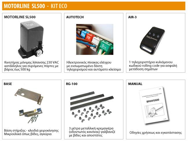 Μοτέρ για συρόμενες πόρτες MOTORLINE SL500 - KIT ECO