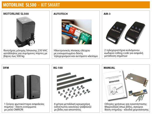 Μοτέρ για συρόμενες πόρτες MOTORLINE SL500 - KIT SMART